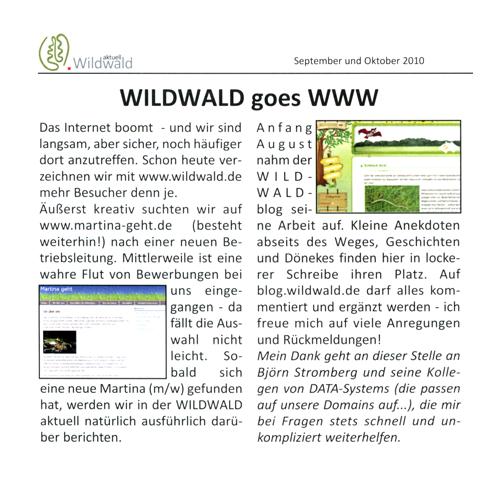 """Ausschnitt aus dem """"Wildwald Aktuell"""" von Oktober 2010"""